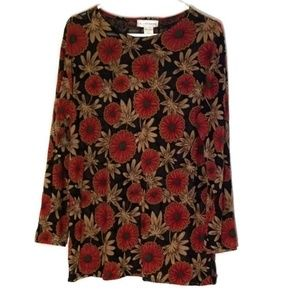 LIEBE  Red & Black Womens Floral Print Blouse •OS